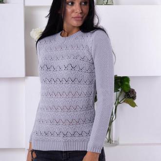 Удобный ажурный свитер
