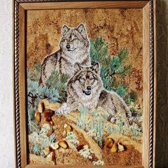 "Картины с янтаря,картина з бурштину ""Волки "" подарок ,подарунок"