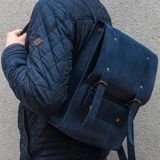 Рюкзак из натуральной кожи в синем цвете.