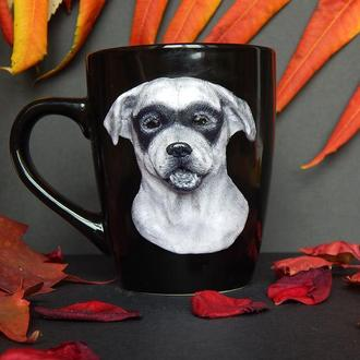 Чашка с лабрадором Зорро.Кружка с декором из полимерной глины Лабрадор Зорро.Кружка с собакой