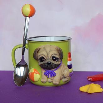 Детская кружка с полимерной глиной Мопс малыш.Чашка с Мосиком.Кружка с собакой.Чашка с Мопсом.