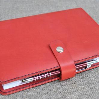 Красная кожаная обложка для блокнота B15-580+black