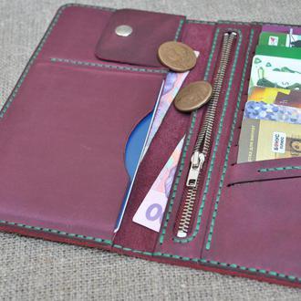Большой кошелек из натуральной кожи K38-800+green