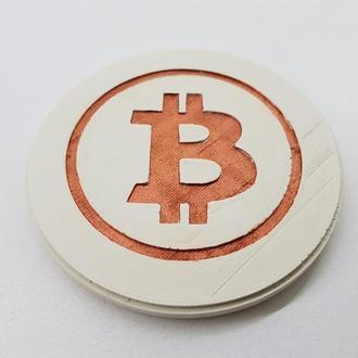 Bitcoin подставка под чашку Bitcoin из бетона - белый с медью