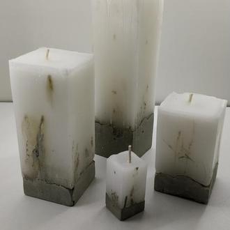 Набор свечей из бетона 4 шт - квадрат