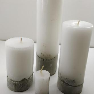 Набор свечей из бетона 4 шт - круг