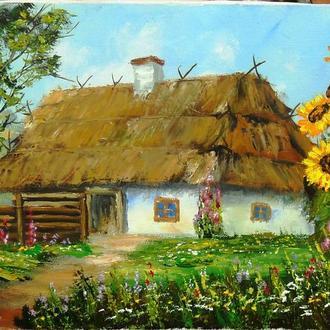 картина маслом, холст/масло Пейзаж, хата, мазанка 40х30