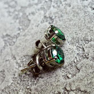 Серебряные серьги-пуссеты с цирконием