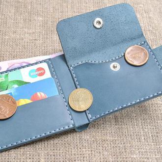 Небольшой кожаный синий кошелек K29-660