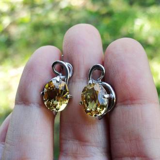 Серебряные серьги с цитрином SUNNY