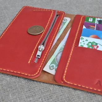 Стильный кожаный кошелек K88-210+580+orange