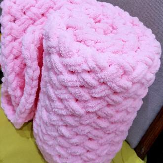 Зефирный розовый детский плед из плюшевой пряжи размером 85смх95см!
