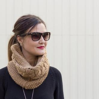 Снуд Вязаный шарф коричневого цвета
