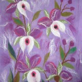 валяный палантин-шарф Фиолет
