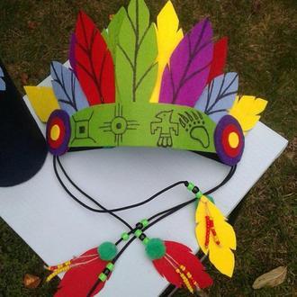Индейский набор: роуч, колчан, лук, пояс. Подарочный набор мальчику. Индейский убор-роуч.