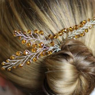 Медовые шпильки для волос 2 штуки