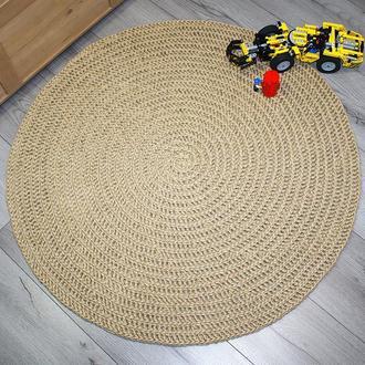 Коврик круглый из джута со спиральной косичкой
