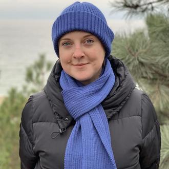 Комплект: шапка и шарф джинсового цвета
