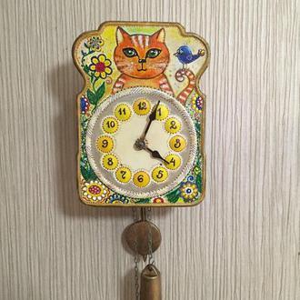 """Расписные часы.Часы с росписью """"Кот"""", ходики настенные механические ."""