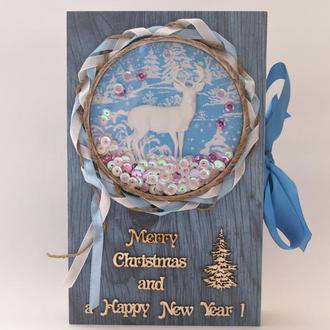 Подарок на Новый год Рождество Коробка в виде книги Merry Christmas and a Happy New year