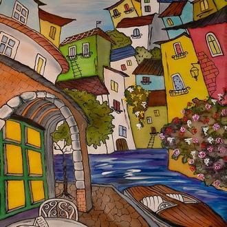 Картина батик Улицы Сан Ремо -3   65х45