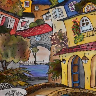 Картина батик Улицы Сан Ремо -2 65х45
