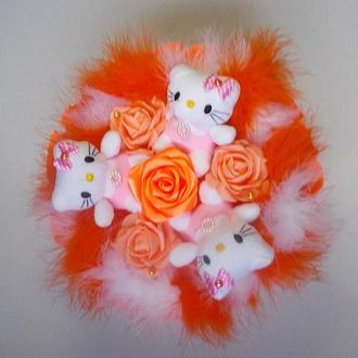 """""""Китти - оранжевое настроение"""" - букет из мягких игрушек."""