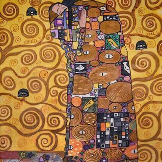 Картина батик Объятия (Гюстав Климт) 60х55