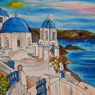 Картина батик Санторини 45х75
