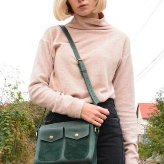 Кожаные сумки через плечо. Женские сумки  цвет зелёный. Сумки украинского производителя.летние сумки