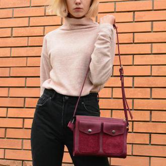 Кожаная сумочка через плечо. Маленькая кожаная сумочка фиолетовая. Женская сумка