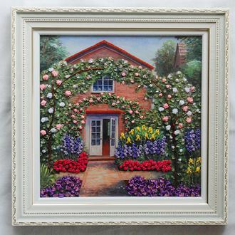 """Картина лентами """"Розовый сад"""""""