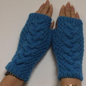 рукавички без пальцев голубого цвета