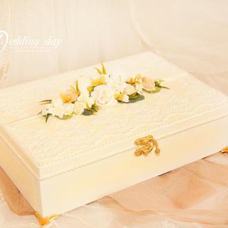"""Шкатулка """"Белые цветы"""""""