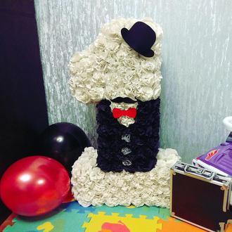 Цифра 1 один 70 см для маленького джентльмена, босса , и под любой стиль, на годик,  день рождения !
