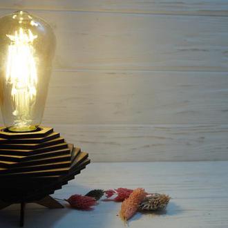Деревянная лампа. Лампа в стиле Лофт. Лампа Эдисона.