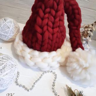 """Шапка """"Новогодняя"""" из толстой мериносовой шерсти"""