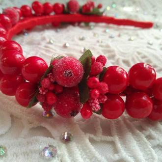 Обруч для волос с ягодами калины