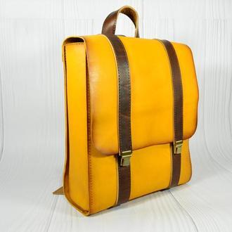 Желтый кожаный рюкзак. Рюкзак для девушек. Кожаный рюкзак женский.
