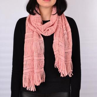 Женский ажурный розовый шарф. Длинный шарф .В'язаний жіночий шарф. Рожевий шарф.