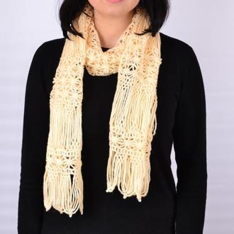 Женский ажурный  шарф.Длинный шарф. В'язаний жіночий шарф . Довгий шарф. Подарок на 8 марта