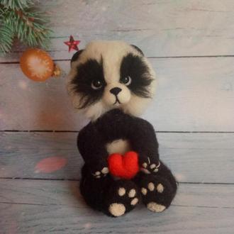 Подарок на Новый год Интерьерная игрушка Панда валяная Игрушка валяная из шерсти Панда