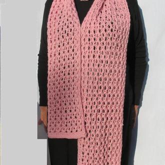 Женский ажурный розовый шарф. Зимний аксессуар.Длинный шарф.