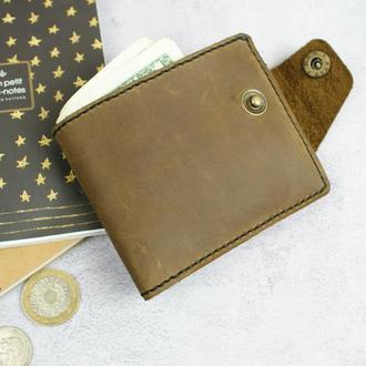 Шкіряний гаманець на кнопці - стильний чоловічий аксесуар