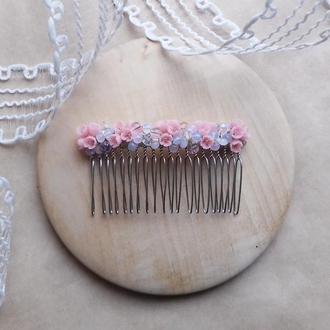 Нежно розовый гребешок, гребешок для волос, гребешок с цветами, свадебный гребешок