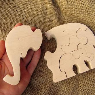 Деревянный пазл Два слона ручной работы - пазл із дерева для дітей