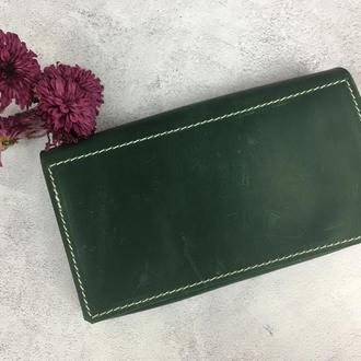 Жіноче портмоне зеленого кольору, портмоне з натуральної шкіри