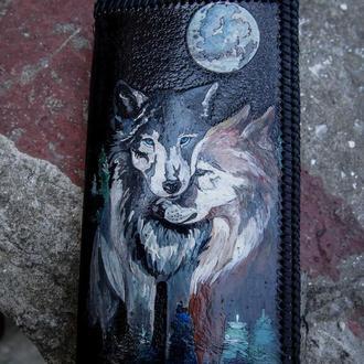 Мужской кожаный кошелёк, вместительный кошелёк, портмоне кожаное, кошелёк пара волков