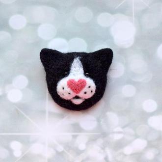 Котоброшь Любовь, Брошь чёрный кот, Брошка кот, Чёрный котик