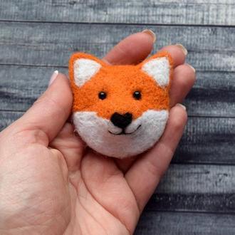 Брошь лисичка, брошка лиса, лисёнок из шерсти, войлочный лис